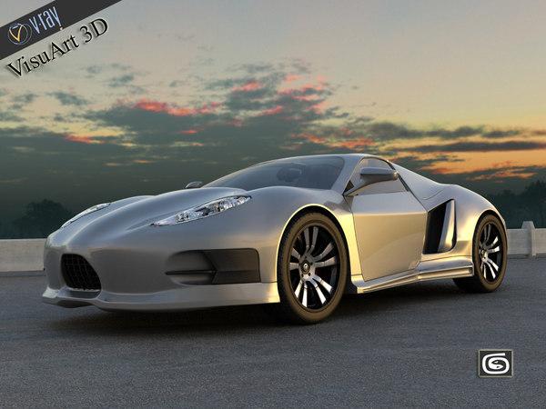 supercar concept 3d obj