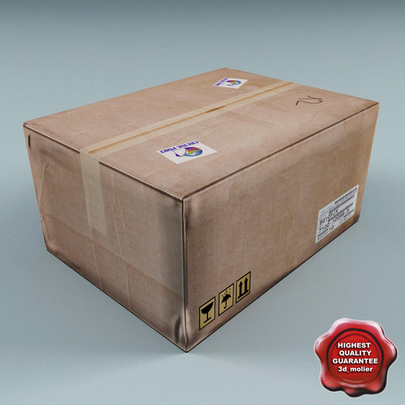 3d cardboard box v2 model