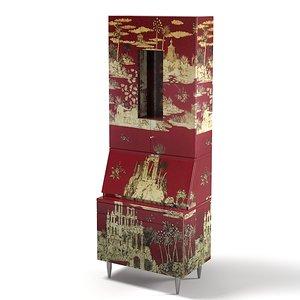fornasetti bureau armoire 3d model