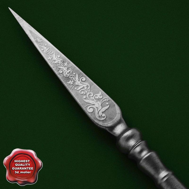 medieval spear v1 3d model