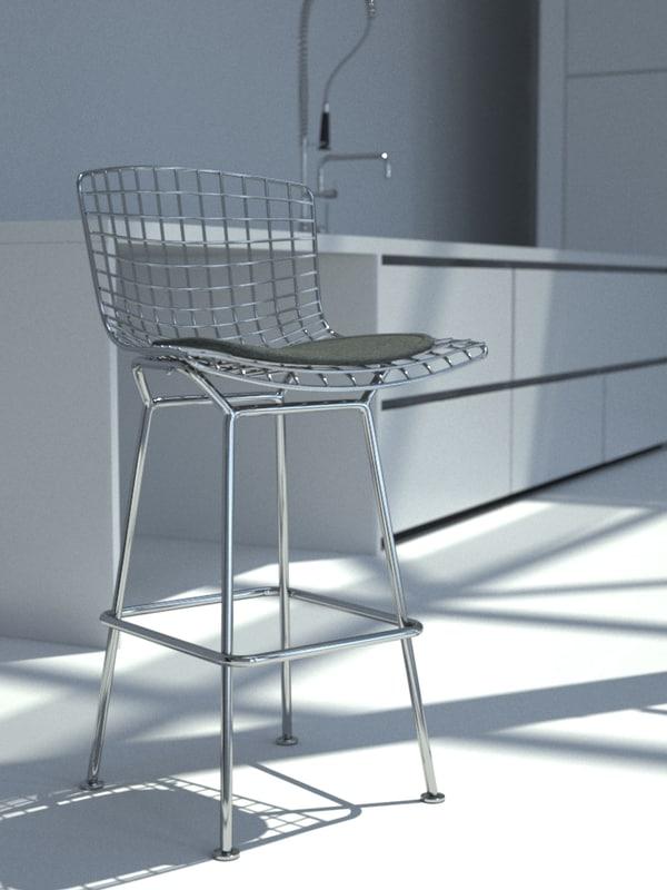 3d model bertoia bar stool
