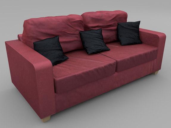 seat sofa wine red 3d fbx