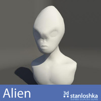 alien bust head 3d obj