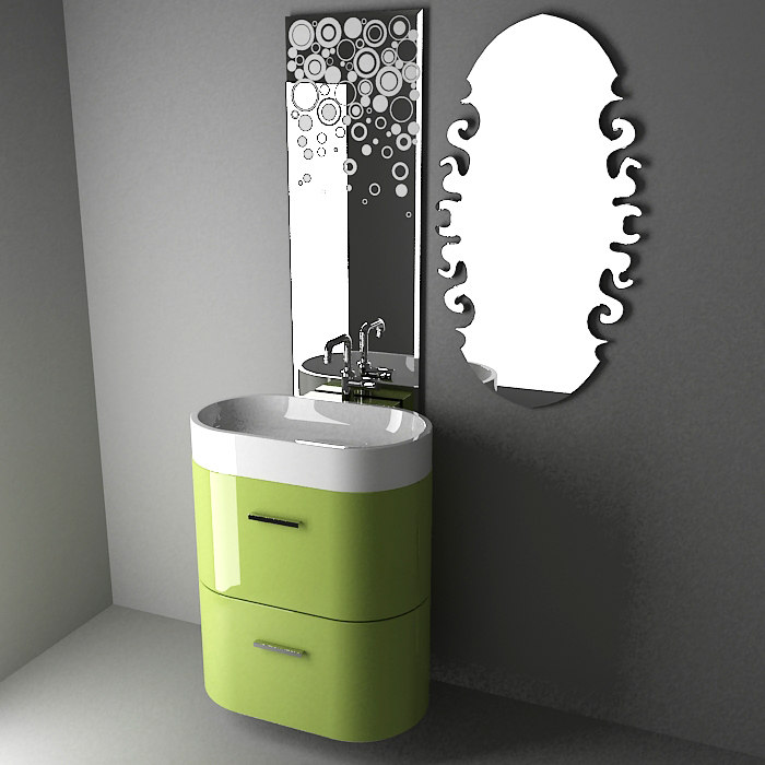3d model modern bathroom mirrors