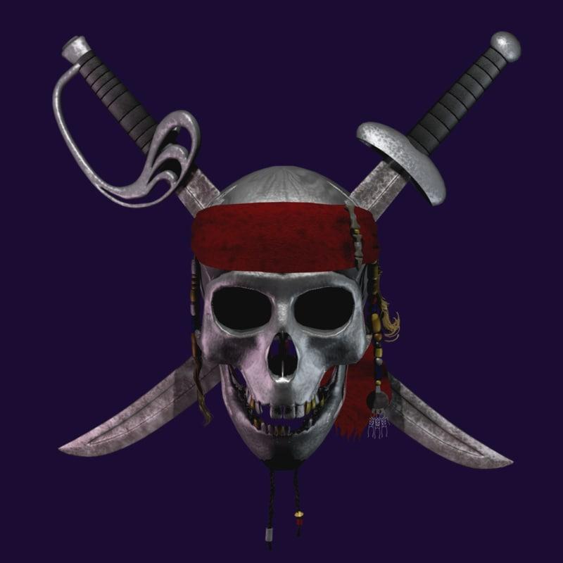 3d pirates caribbean skull swords model