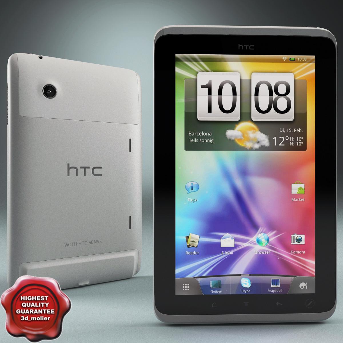 htc flyer tablet 3d model