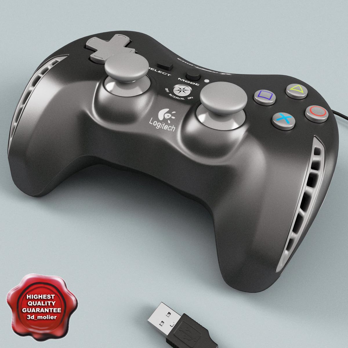 3d model joystick logitech black