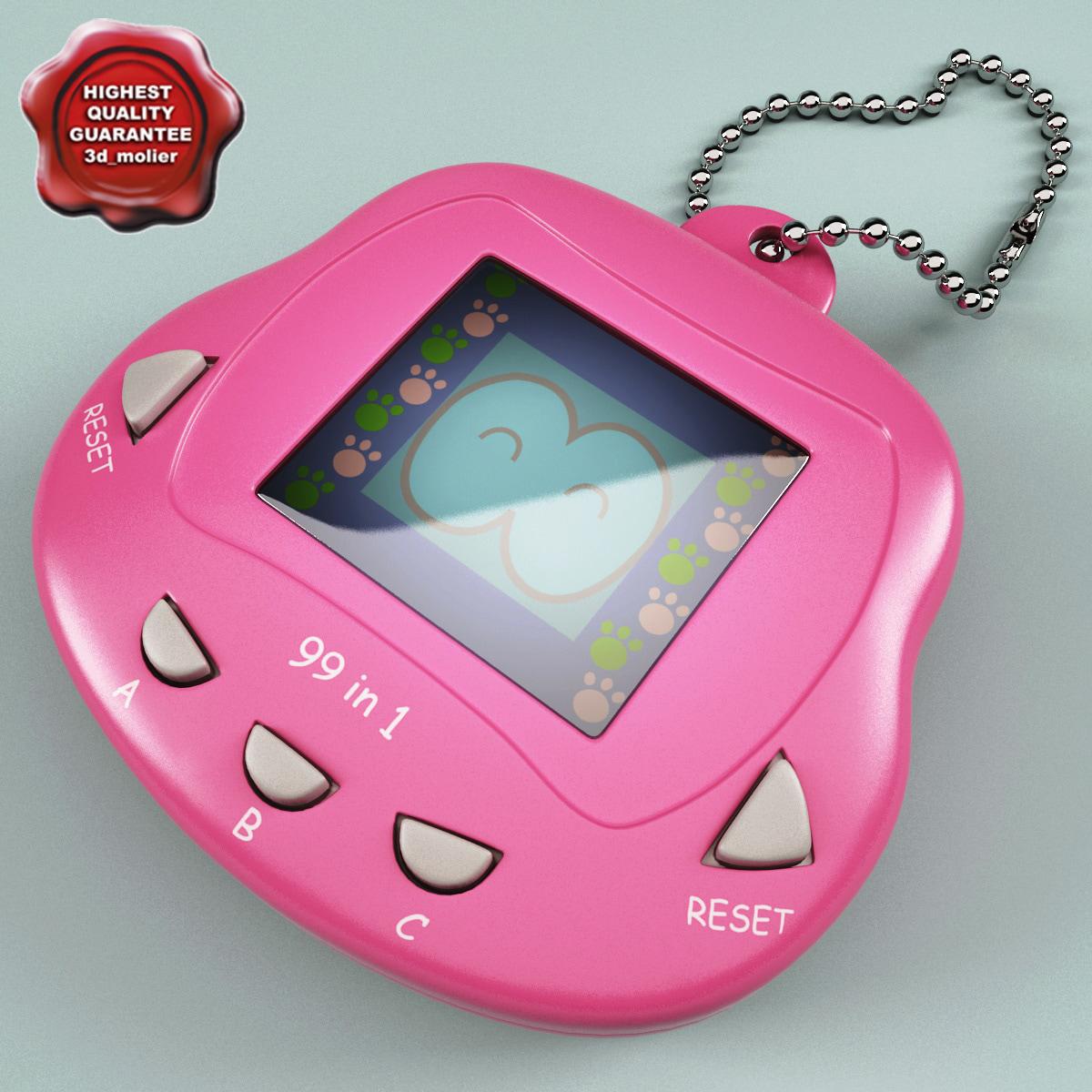 pink tamagotchi 3d model