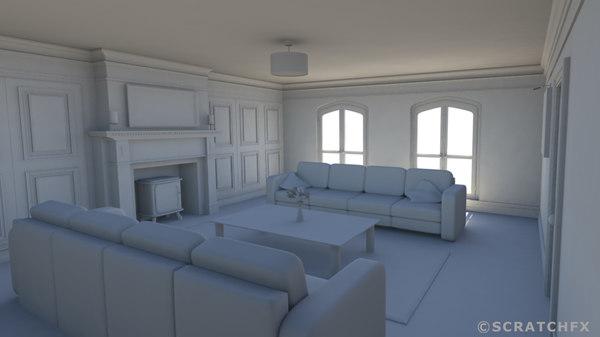 3d apartment livingroom room model