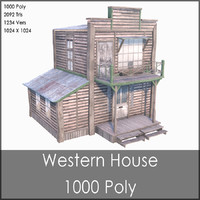 Western House, Low Poly, Textured