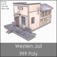 Western Prison, Low Poly, Textured