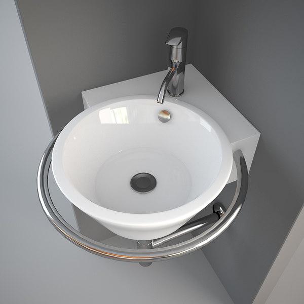 3ds max corner wash basin