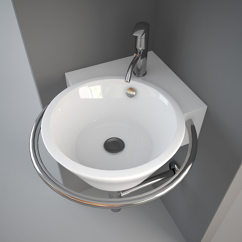 3ds Max Corner Wash Basin