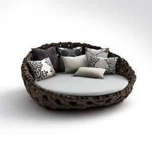 3d b italia canasta sofa model