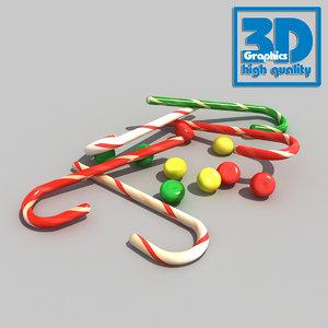 candy decor cane 3d obj