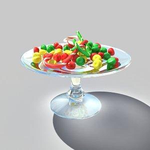 3d candy decor cane model