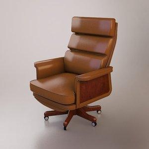 3d model leather desk chair