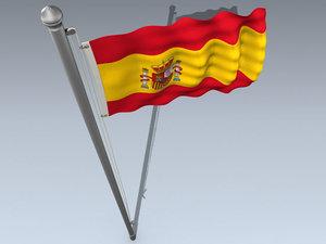 national flag spain 3d model