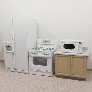 3d refrigerator stove microwave model