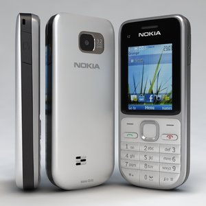 3d nokia c2-01 white-silver cell phone model