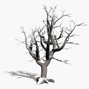 3d scanline winter deciduous tree