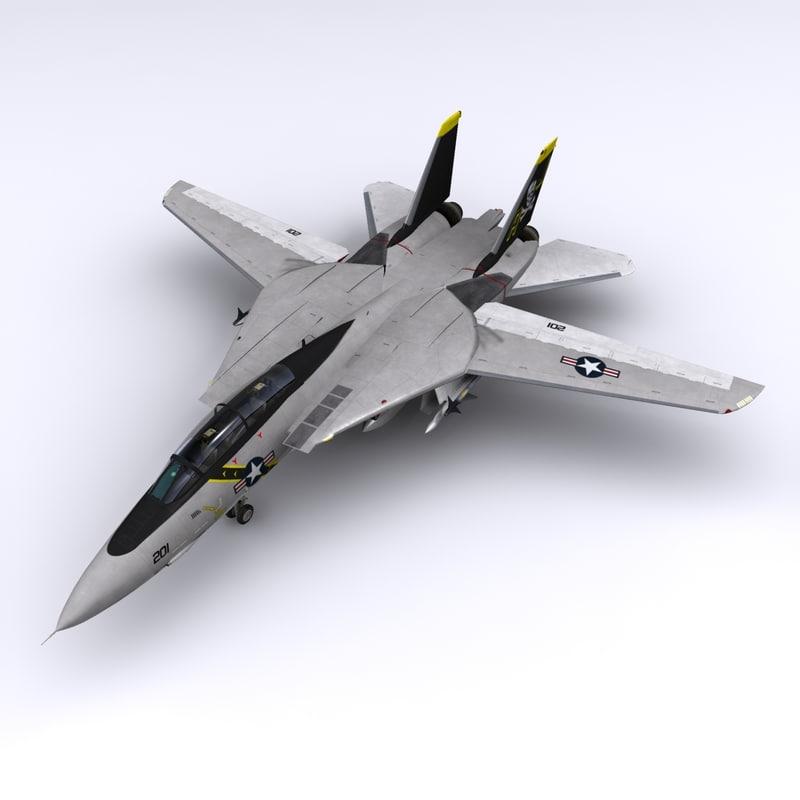 3d model f-14 fighter jet vf-84