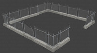fence wall 3d model