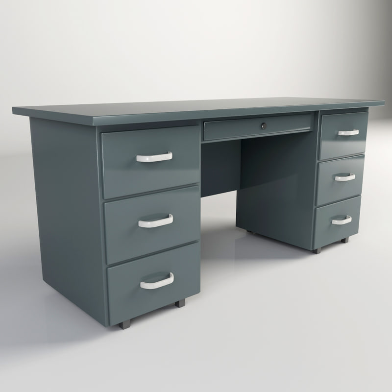 Steel office desk 3ds - Metal office desk ...