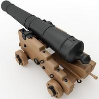 3d model 24 pounder naval cannon