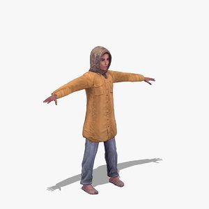 arab female child 3d max