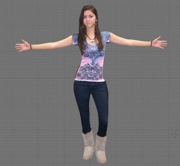 female girl woman 3d fbx