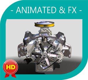 3d model v8 engine 5 fx