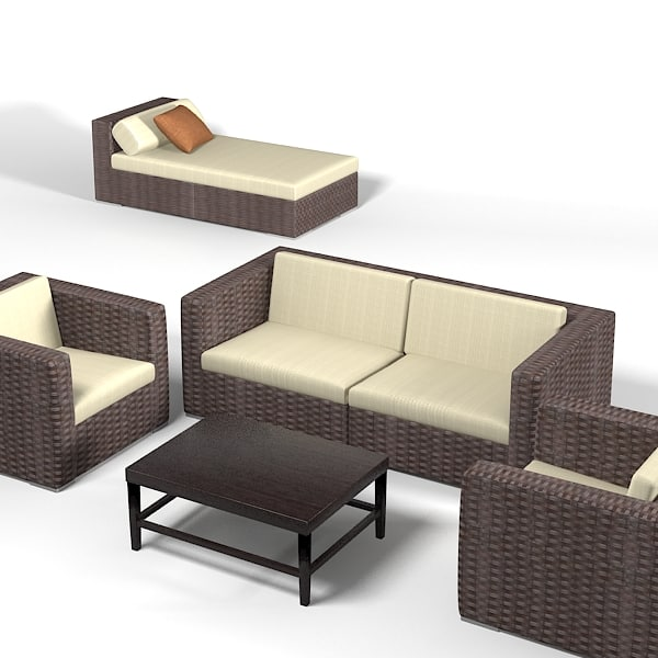 Dedon wicker wowen 3d model for Outdoor furniture 3d max