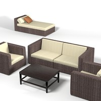 Dedon Wicker  wowen furniture set sofa chair archair chaise lounge longue outdoor terrace