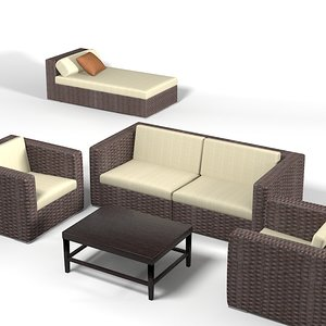 dedon wicker wowen 3d model