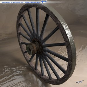 3d model cart wheel -