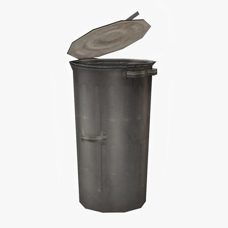 metal bin garbage 3ds