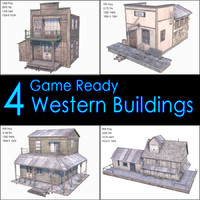 Western Buildings Collection II, Low Poly, Textured