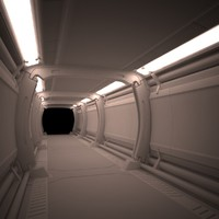3d spaceship corridor model