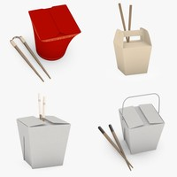 3d model asian foodboxes chopsticks