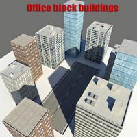 3d 3ds realistic office block buildings