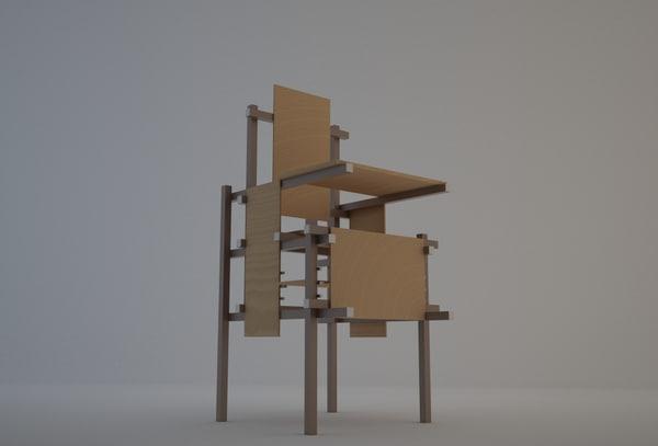 rietveld chair 3d max