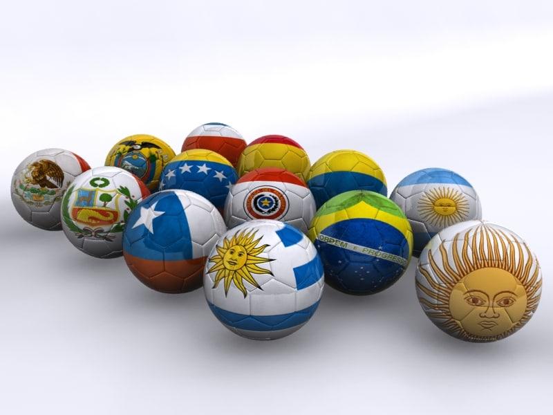 3d copa america 2011 soccer balls model
