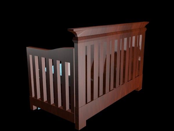 baby bed crib 3d model