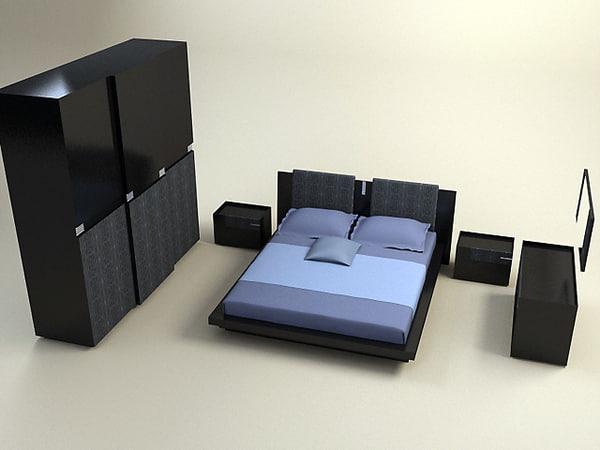 3d model diamond bedroom set bed