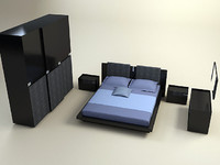 3d model diamond bedroom set bed