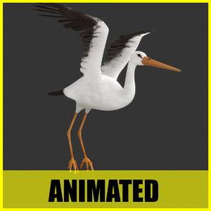 3d stork flying animation model