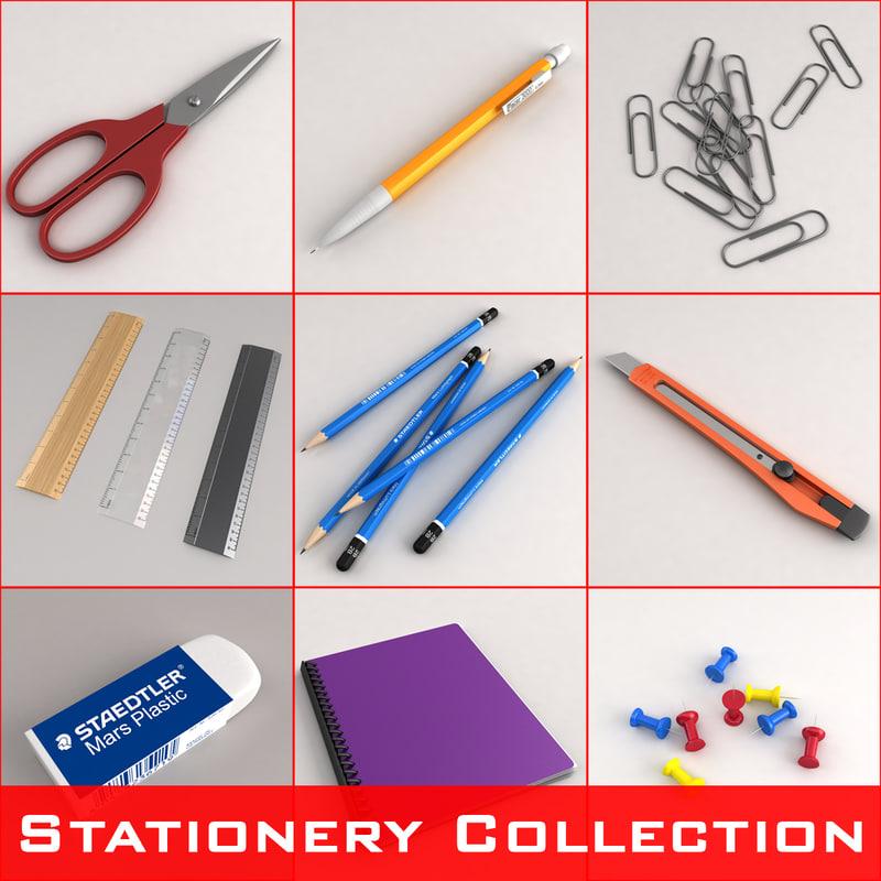 3d model stationery set scissors