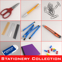 3d model stationery set scissors