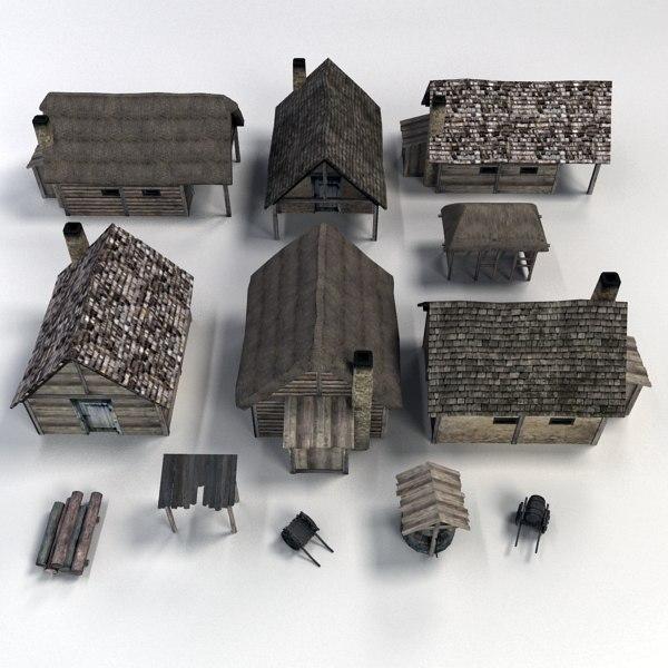medieval buildings accessories 3d model